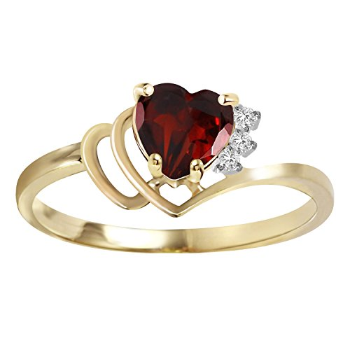0.97 CTW 18k Solid Yellow Gold Ring with Natural Diamonds and Heart Shape Garnet (8.5)