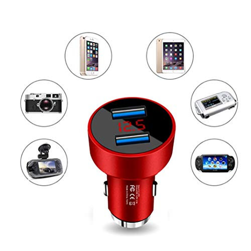 (Glumes Car Charger|Aluminum Alloy|3.1 A Fast Charge|2 USB| Car Adapter|for iPhone X/8/7/6s/Plus|iPad Air 2/mini 3|Galaxy S9/S8/S7 Edge LG V10/V20 (black))