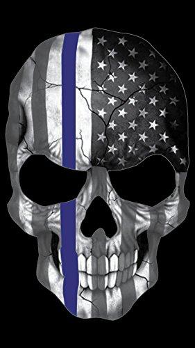 [해외]블루 라인 해골 줄무늬 얇은 블루 라인 미국 국기 스티커입니다. /Blueline Skull Subdued Thin Blue Line American Flag Sticker. 6 x 4  inch Reflective