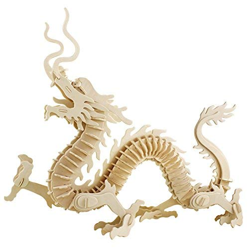 - A-Parts The Dragon of East DIY 3D Cut Model Kit- Wooden Puzzle Toy for Kids Home Decoration