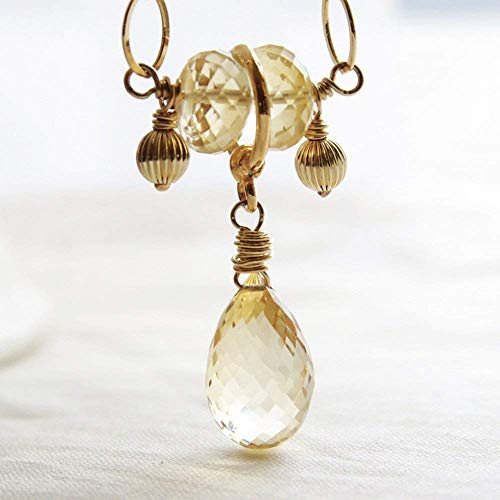 - Citrine Necklace Gemstone Pendant 14kt Gold Filled
