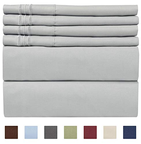 California King Size Sheet Set - 6 Piece Set - Hotel Luxury Bed Sheets - Extra Soft - Deep Pockets - Easy Fit - Breathable & Cooling - Wrinkle Free - Comfy - Light Grey Bed Sheets - Cali Kings Sheets ()