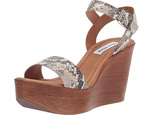 (Steve Madden Women's Baraz Wedge Sandal Natural Snake 8.5 M US)