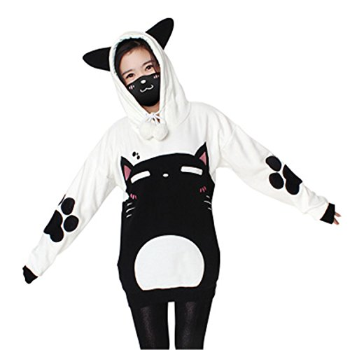 Neko Costumes (Olive Tayl Neko Atsume Cat Backyard Cosplay Cloak Cute Japanese Cartoon Warm Costume Hoodies With Tail Kawaii Daily Fleece)