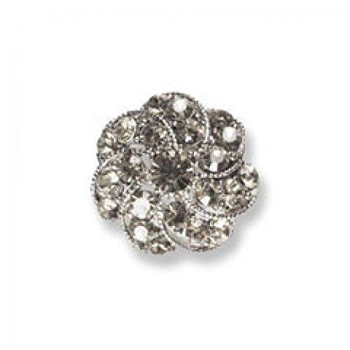 Impex Round Swirl Diamante Buttons Silver - per button