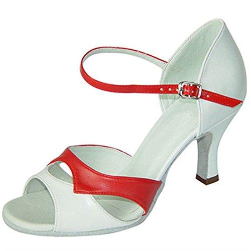 Tda Femmes Peep Toe Confort Cuir Salsa Tango Salle De Bal Latin Moderne Danse Chaussures De Mariage Rouge Blanc
