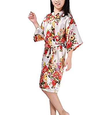 Mobarta Girls' Floral Satin Kimono Robe Flower Girl Bathrobe Getting Ready Robe For Wedding Spa Party Birthday Gift