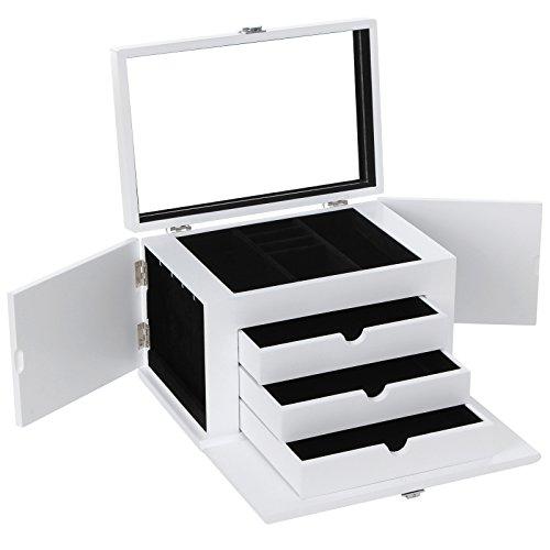 Songmics Schmuckkästchen Uhrenkoffer 4 Ebenen mit 3 Schubladen mit Spiegel und 2 äußeren Flügeln weiß JBC53W