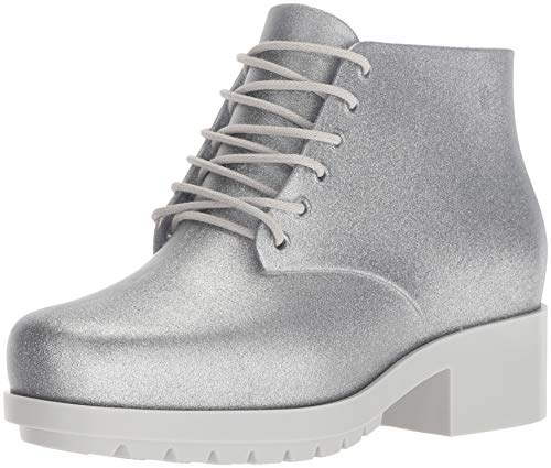 Mini Melissa Girls' Mel Stellar Ankle Boot, Silver Sparkle, 2 Medium US Little Kid -