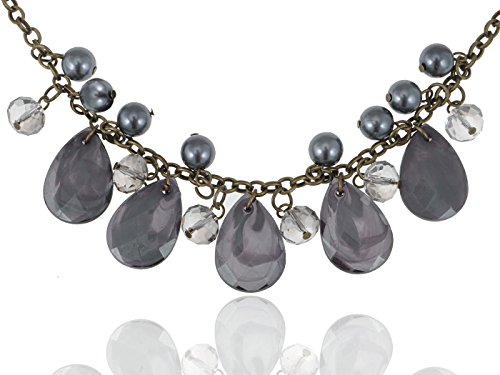 Chunky Bohemian Indie Inspired Dark Grey Tone Dangling Beads Fashion Necklace