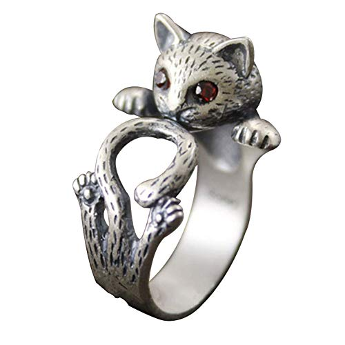 (Acamifashion Retro Women Red Eyes Lucky Cat Kitten Shape Rhinestone Open Finger Ring Jewelry - Antique Silver)
