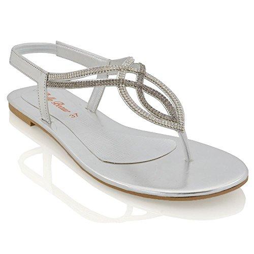 Essex Glam Womens Flat T-Bar Diamante Silver Synthetic Slingback Toepost Sandals 8 B(M) US (T-bar Flat Sandal)