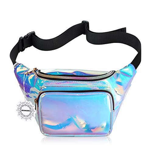 Shiny Neon Fanny Bag for Women Rave Festival Hologram Bum Travel Waist Pack ()