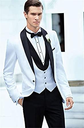 YYI Uomo Tute da Uomo 3 Pezzi Slim Fit Tuxedo da Uomo Giacche Formali Pantaloni Gilet da Uomo