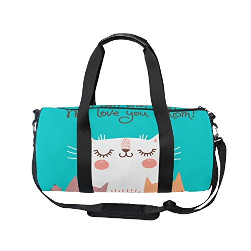 U LIFE Happy Mother Day Cute Cat Love Mom Sports Gym Shoulder Handy Duffel Bags for Women Men Kids Boys Girls by ALAZA (Image #1)