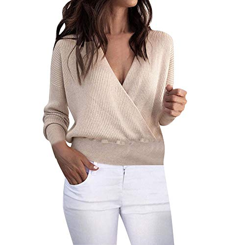 LISTHA Clearance V Neck Sweater Pullover Women Long Sleeve Knitted Blouse Casual ()