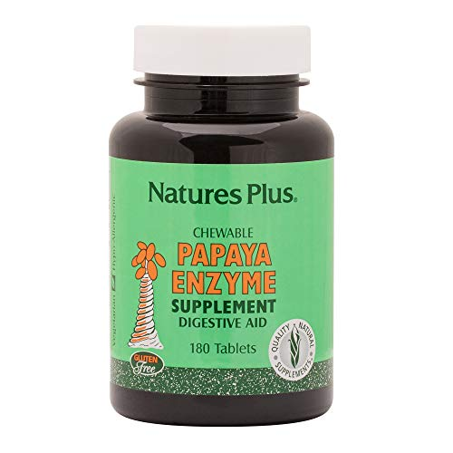 Natures Plus Papaya Enzyme - 6 mg Papain, 180 Chewable Tablets - All Natural Digestive Aid Supplement, Contains Amylase & Protease - Vegetarian, Gluten Free - 180 Servings