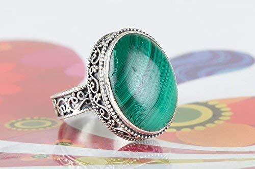 Malachite Ring Sterling Silver Ring Wide Band Ring Antique Ring Designer Ring Green Color Ring Romanian Ring Hipster Ring Foremost Ring Healing Ring Purpose Ring Relationship Ring Boho Chic