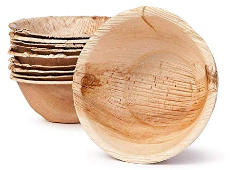 Palm Leaf Bowl - Environmentally disposable tableware | 25 pieces Palm leaf Bowls 13.5 oz Ø 6 Inch round | Disposable Salad bowl, Dip Soup bowl, Serving bowls, Snack trays