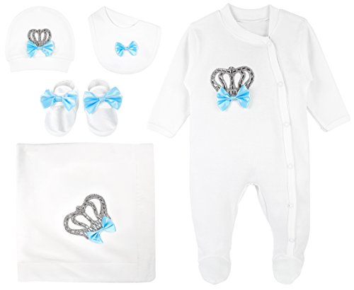 Lilax Baby Boy Jeweled Crown Layette 5 Piece Gift Set