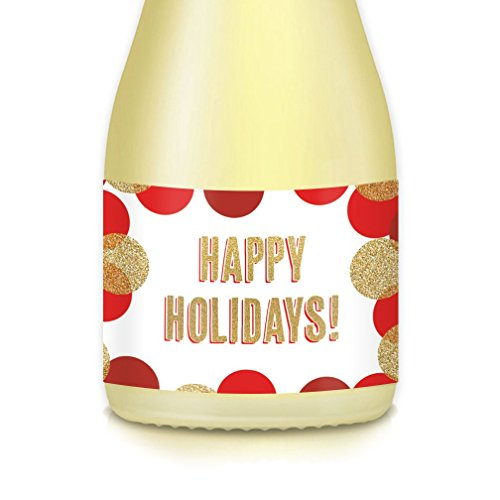 Merry Christmas, HAPPY HOLIDAYS! Winter Season Party Ideas, Decorations, Supplies, 20 Count Red & Gold Mini-Champagne or Wine Labels, Celebrating New Year's Eve, Pony Bottle Decals, Guest Gift -