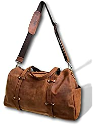 Over-Sized Leather Travel Duffel Bag by Kauri Design | 24 Large Overnight Weekend Carry On Shoulder Tote