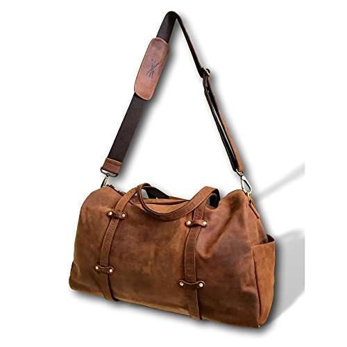 Over-Sized Leather Travel Duffel Bag by Kauri Design | 24'' Large Overnight Weekend Carry On Shoulder Tote by Kauri Designs