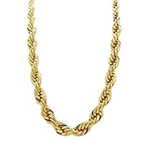Fashion 21 Hip Hop 80′ Unisex Rapper's 8, 10, 12mm Hollow Rope Chain Necklace in Gold, Silver Tone