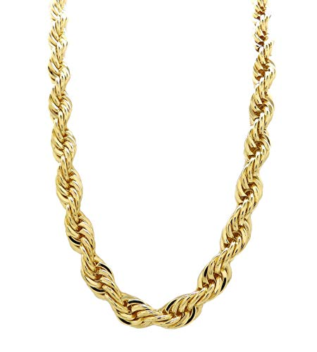 Fashion 21 Hip Hop 80' Unisex Rapper's 8mm, 10mm Various Size Hollow Rope Chain Necklace in Gold, Silver Tone (Gold - 10mm 26