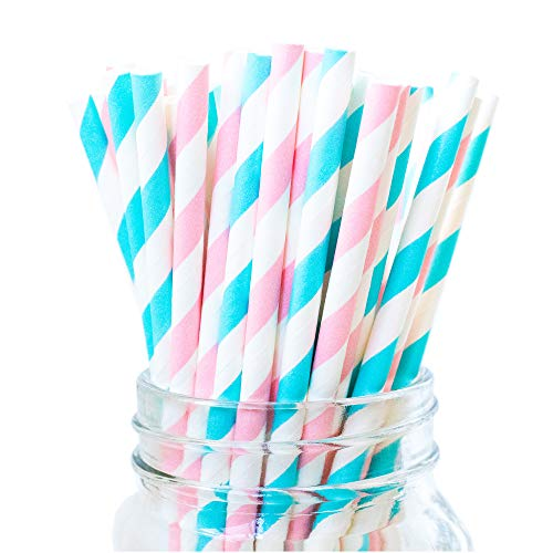 Pink and Baby Blue Paper Drinking Straws Party Supplies Bulk 100PCS Stripe Disposable ECO Straws Baby Girl/ Boy Shower Birthday Wedding Bridal Shower Gender Reveal Party Celebrations Decorations