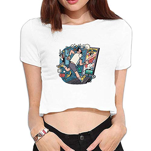 Shenigon Fitness Treadmill Top T-Shirts Dew Navel Shirt White S