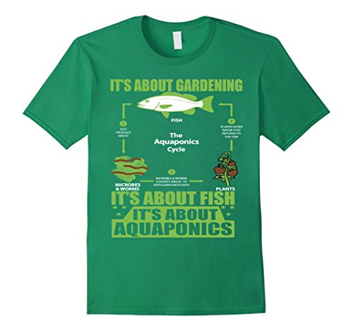 Mens It Is About Gardening, About Fish and About AQUAPONICS 3XL Kelly Green Green Label Organic Support