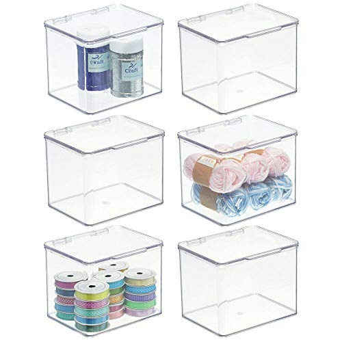 mDesign Stackable Plastic Craft, Sewing, Crochet Storage Container Bin with Attached Lid - Compact Organizer and Holder for Thread, Beads, Ribbon, Glitter, Clay - 6 Pack - Clear