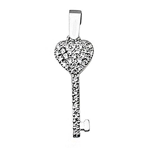 Pendentif 18k blanc clés de coeur en or tous les zircons [8415]