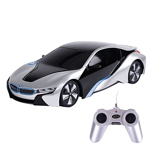 PowerTRC 1:24 BMW I8 Concept Remote Control Sports Car, Racing Toy Model Silver