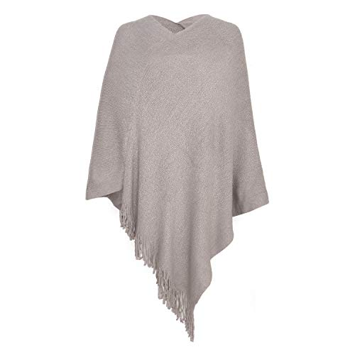 Fomolom Womens Poncho Sweater V Neck Knitted Ponchos Solid Pullover Shawls Wraps Capes with Fringes