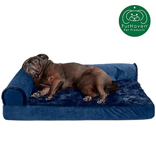 Furhaven Pet Dog Bed | Deluxe Cooling Gel Memory Foam Plush & Velvet L Shaped Chaise Lounge Living Room Corner Couch Pet Bed w/ Removable Cover for Dogs & Cats, Deep Sapphire, Medium