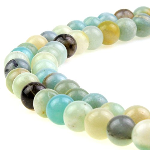 Multi Color Necklace Natural Jade - JARTC Natural Stone Beads Multicolor Amazonite Round Loose Beads for Jewelry Making DIY Bracelet Necklace (6mm)