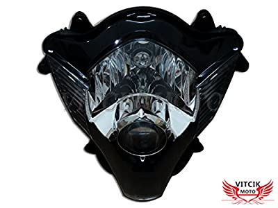 VITCIK Motorcycle Headlight Assembly for Suzuki GSXR 600 750 K6 2006 2007 GSXR 600 750 K6 06 07 Head Light Lamp Assembly Kit (Black)