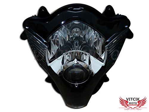 VITCIK Motorcycle Headlight Assembly for Suzuki GSXR 600 750 K6 2006 2007 GSXR 600 750 K6 06 07 Head Light Lamp Assembly Kit (Black)
