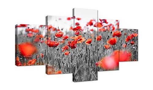 AMEMNY Yellow Grey Red Poppy Flowers Canvas