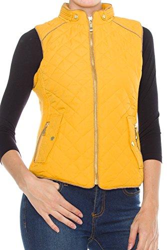 KLKD Women's Quilted Mockneck Side Ribbed Panel Vest Mustard Small