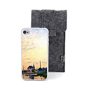 CaseCityLiu - sunset River Village Claude Monet Oil Painting Design White Bumper Plastic+TPU Case Cover for Apple iPhone 4 4s 4th 4g 4Generation Come With FREE Non Woven Packing Bag wangjiang maoyi