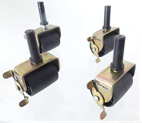 Tech Team Locking Bed Casters, Wheels, Rollers, Brakes, Stem for Bedframe Socket, Set of 4