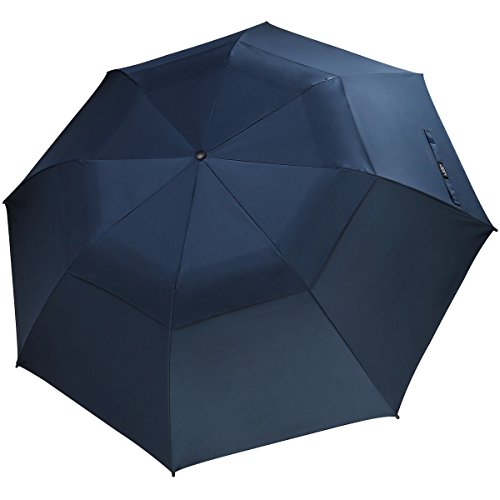 G4Free Folding Golf Umbrella 58-inch Large Windproof Double Canopy Auto Open Compact Travel Umbrellas(Navy Blue)