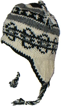 WOOL CHULLO FLEECE LINED SKI HAT TOQUE WITH EAR FLAPS WINTER KNIT ... 0c037720d61