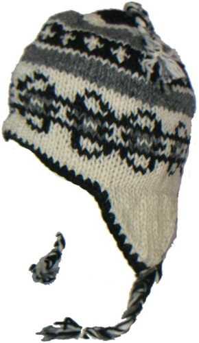 Chullo Ski Hat - WOOL CHULLO FLEECE LINED SKI HAT TOQUE WITH EAR FLAPS WINTER KNIT BEANIE MOUNTAINEERING SKULL CAP (WHITE / GREY - BLACK OVAL)