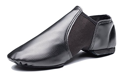 Cheapdancing Breathable Practice Jazz Shoes Soft-Soled Leather Dance Shoes, Black, 10 M US Women / 9 M US Men