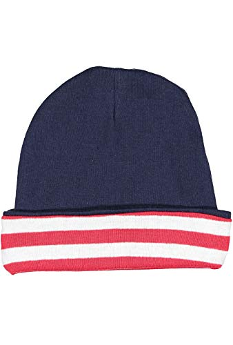 Rabbit Skins Infant 100% Cotton Baby Rib Folded Beanie Cap (Navy/Red & White Stripe, One Size Fits All)