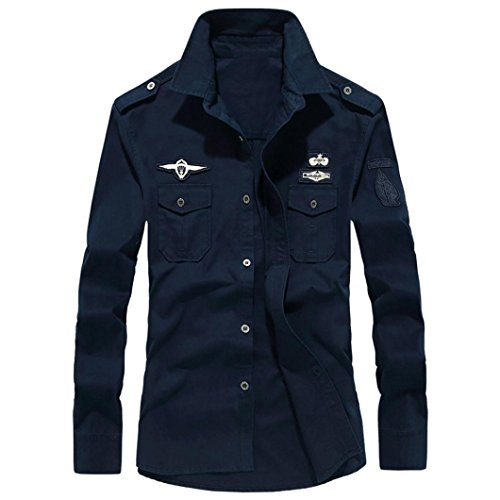 (Realdo Mens Military Cargo Workwear, Autumn Casual Durable M65 Button Down Long Sleeve Shirt Top Blouse(Navy,XXXX-Large))